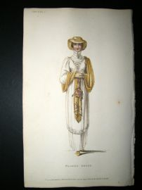 Ackermann 1810 Hand Col Regency Fashion Print. Walking Dress 3-31